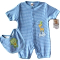 Carter's Blue Stripe Safari 2 Pcs Romper Set 蓝色细间条青蛙口水巾加哈衣二件式