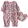 Carter's Cherry & Kitten 2 Pcs Romper Set 粉色樱桃和小猫连体衣两件套
