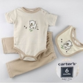 Carter's Cub Brown Stripe 3 Pcs Set 浅啡间条三角哈三件套