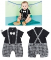 Cool Boy Bow Tie Black White Tuxedo Romper 男童短袖领结格子哈衣