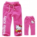 DISNEY Hello Kitty Pink Long Pant 卡通梅红色hello kitty印花纯棉毛圈长裤