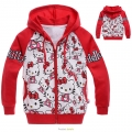 HELLO KITTY Red Hoodie Jacket 红色纯棉毛圈带帽外套 (Design 8)