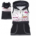 Hello Kitty Black Hoodie Dress 卡通黑色印花纯背心裙 (Design 3)