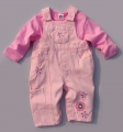 M&CO Embroidery Flowers Pink Overalls Set 粉色花朵背带裤套装