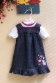 M&CO Lovely  Bird Jeans Overalls Dress Set 可爱小鸟全棉背带裙套装