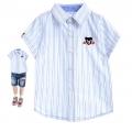 Miki House Double B Blue Stripe Collar Shirt 浅蓝色小熊绣花梭织衬衫