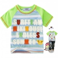 Miki House Surf Team Blue Stripe Tee 绿色字母贴布印花纯棉短袖