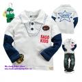 Sago Kids Fake 2 Pcs Boy White Top 米白绣花纯棉有领T恤