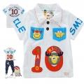 Sago Kids No.10 White Collar Tee 米白色动物贴布印花纯棉有领短袖