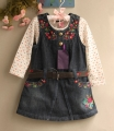 ADAM GIRL Embroidery Flowers Denim Overalls Dress Set 刺绣腰带背带裙套装