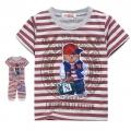 GCM Red Stripe Teddy Bear Unisex 2 Pcs Set 韩单暗红色条纹小熊贴布印花纯棉休闲套装
