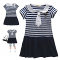 AQDDZ Sailor Tie Saphire Blue Stripe Dress 宝蓝条中大童洋装裙