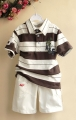 A&F Brown Stripe 2 Pcs Set 男生条纹翻领套装【咖啡】(PRICE REDUCED)