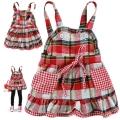 B2W2 Checker Red Dress 外贸红色格子梭织吊带裙