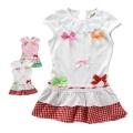 B2W2 Ribbon White Dress 外贸米白色蝴蝶结纯棉衣裙