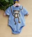 BABY SIZER Little Monkey Blue Romper 小猴子贴布绣哈衣
