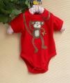 BABY SIZER Little Monkey Red Romper 小猴子贴布绣哈衣