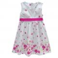 BABY'S Pink Flowers White Dress 枚红色满身印花梭织公主裙