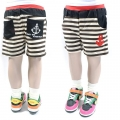 BA XIN BABY Coffee Stripe Short Pant 咖啡色条纹海锚绣花短裤