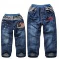 BDK Car Long Jeans 深蓝色汽车贴布绣花纯棉洗水牛仔压皱长裤