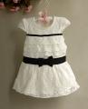 BEIQINIAO Lace Black Bow Dress 蝴蝶结蕾丝洋装【黑点】