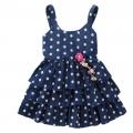 BUTTERFLY Polkadots Blue Dress 白色点点印花仿牛仔公主裙