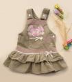 Baby Pep Bunny Brown Overalls Dress 长耳朵兔兔细绒背带裙