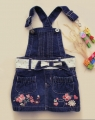 Baby Pep Embroidery Butterfly Jeans Overalls Dress 绣花蝴蝶牛仔背带裙