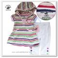 Beverly Hills Stripe Hoodie 2 Pcs Set (A) 原单彩条短袖帽衫打底裤套装