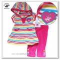 Beverly Hills Stripe Hoodie 2 Pcs Set (B) 原单彩条短袖帽衫打底裤套装