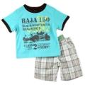 Boyz Wear Baja 150 Green 2 Pcs Set 青绿小赛车图男童套装
