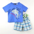 Boyz Wear White Shark Blue 2 Pcs Set 蓝色鲨鱼图男童套装