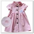 Burberry Pink Classic Dress 全棉格纹边开扣公主连身裙