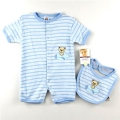 CARTER'S Bear Blue Stripe 2 Pcs Romper Set 蓝色间条小熊哈衣两件套