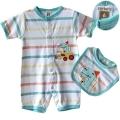 CARTER'S Colourful Stripe 2 Pcs Romper Set 彩条开扣哈衣两件套