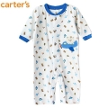Carter's Bear in Plane Sleeper 新款蓝色飞机平脚哈衣