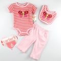 Carter's Butterfly Peach Stripe 3 Pcs Set 橙红色条纹哈衣三件套
