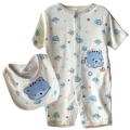 Carter's Civet Cats White 2 Pcs Romper Set 灰米色狸猫头口水巾加哈衣二件式