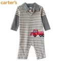 Carter's Fire Engine Grey Stripe Sleeper 男童车车拼袖平脚哈衣