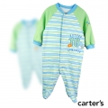 Carter's Future Athelete Sleepsuit 兰色条纹绣花哈衣