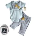 Carter's Giraffe Blue 3pcs Set 浅蓝色长颈鹿纯棉三件套
