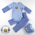 Carter's Lion Blue 3 Pcs Set 蓝色假两件长袖三角哈套装
