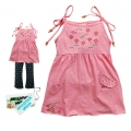 Children Weer Girl Pink Strip Dress 粉红色绣花带裙