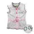 Ddz  Kids Pink Cotton Top 粉红色梭织背心开衫