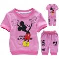 Disney Mickey Pink 2 Pcs Set 卡通粉红色米奇花纯棉套装 (Design 1)
