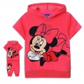 Disney Minnie Pink 2 Pcs Set 卡通枚红色米尼短袖套装(Design 4)