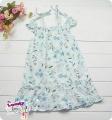 EVOLAND Floral Blue Dress 露肩吊带纯棉连衣公主裙