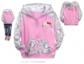 HELLO KITTY Pink Hoodie Jacket 粉红色纯棉毛圈带帽外套 (Design 4)