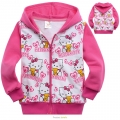 HELLO KITTY Pink Hoodie Jacket 玫红色纯棉毛圈带帽外套 (Design 5)