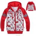 HELLO KITTY Red Hoodie Jacket 红色纯棉毛圈带帽外套 (Design 8)